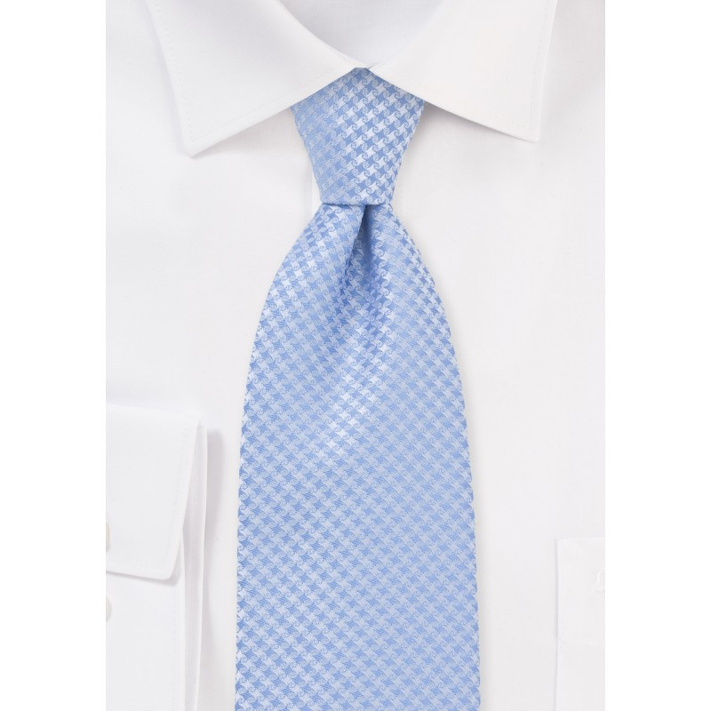 Traditionally Patterned Soft Blue Tie in XL Length