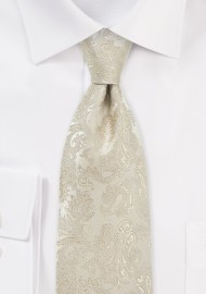 Golden Champagne Wedding Silk Tie in XL