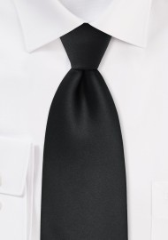 Men's XL Length Tie in Solid Black