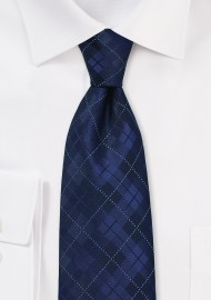 Dark Navy Plaid Tie