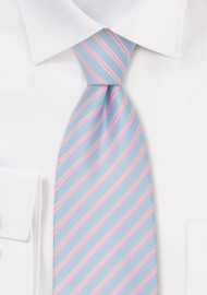 Mens Spring Fashion Tie - Light Blue & Pink Necktie