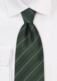 Green Neckties - Striped Tie in British Racing Green Color