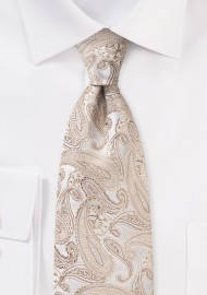 Paisley Silk Tie for Kids in Gold Champagne