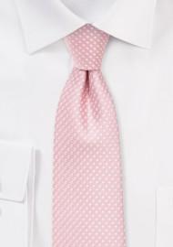 Soft Pink Pin Dot Necktie in Skinny Width
