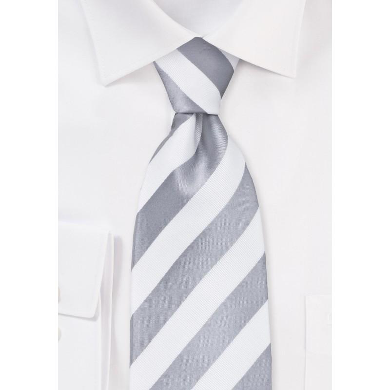White and Silver Striped Tie