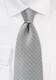 Kids Necktie Silver and White Polka Dots