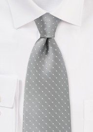 Kids Necktie Silver and White Polka Dots