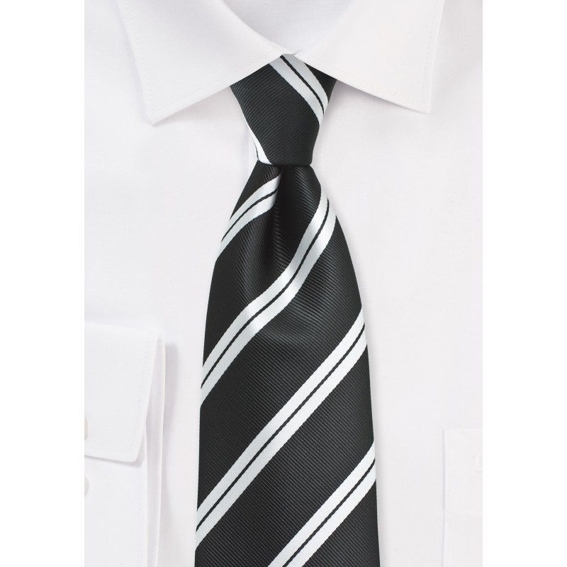 Black Repp Tie with Shiny Silver Stripes