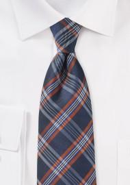 XL Tartan Plaid Tie in Navy and Orange