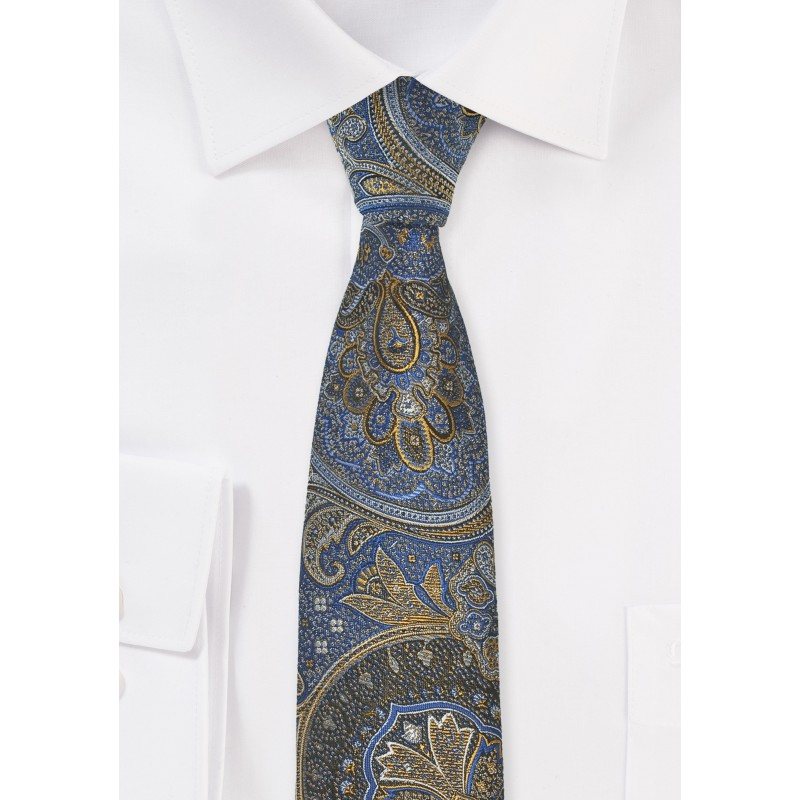Vintage Paisley Tie in Blue, Gold, and Brown