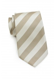 Gold and Beige Striped Extra Long Tie