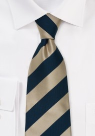 Gold Blue Silk Ties - Striped Necktie in Gold & Blue