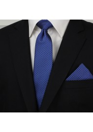 Royal Blue Necktie with Woven Micro Dots Styled