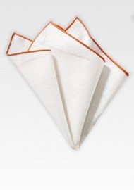 White Linen Hanky with Burnt Orange Border