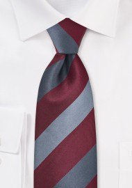 Bordeaux Red and Gray Striped Tie