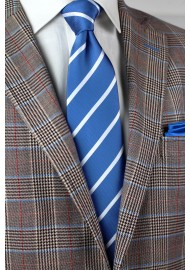 Repp Striped Tie in Blue and Silver Styled