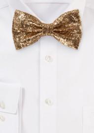 Metallic Glitter Bow Tie in Rose Gold