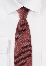 Slim Cut Textured Weave Striped Tie in Ochre Red