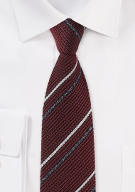 Knit Texture Striped Tie in Burgundy