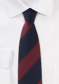 Knit Textured Designer Tie in Navy and Burgundy