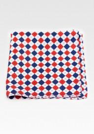 Red, Navy, White Harlequin Plaid Pocket Square