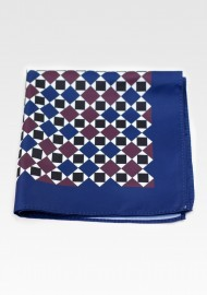 Navy and Wine Red Hanky in Retro Print