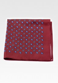 Classic Paisley Suit Pocket Square in Wine Red