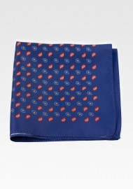 Dark Blue Suit Pocket Square with Modern Paisley