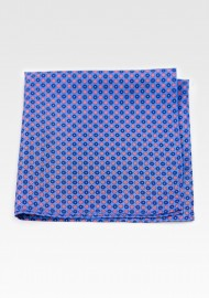 Geometric Floral Hanky in Blue and Orange