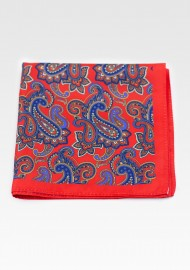 Red Suit Pocket Square with Large Paisley Print