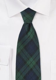 Extra Long Tartan Plaid Tie in Navy and Green