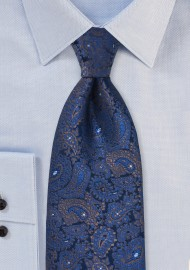 Silk Paisley Kids Tie in Tonal Blues