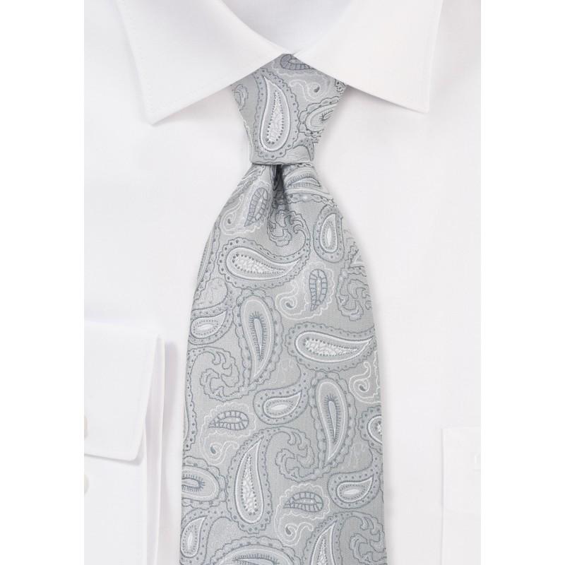 Silver Gray Paisley Necktie in XL
