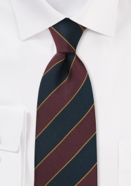 British Repp Tie in Burgundy and Navy