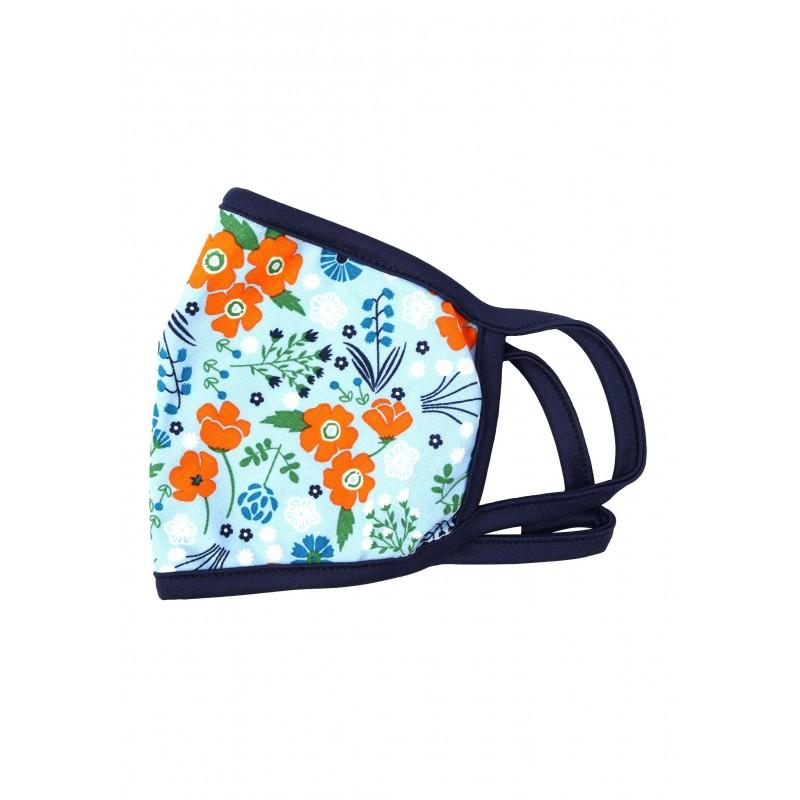 Light blue and orange floral face mask with filter summer protective masks