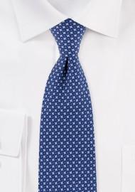 Blue Geometric Print Skinny Cotton Tie in Royal Blue