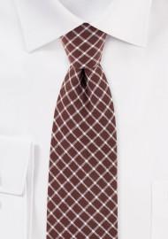 Slim Cut Window Pane Check Tie in Brown and Tan