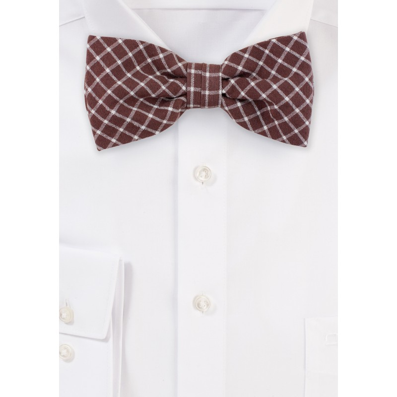 Window Pane Check Cotton Bow Tie in Cognac Brown