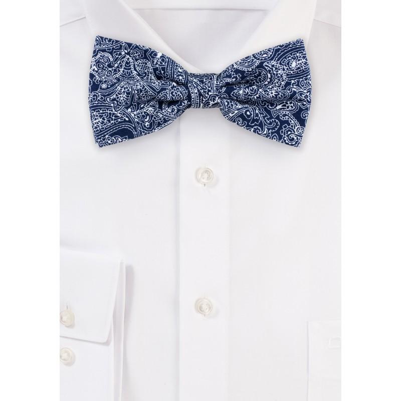Bandana Paisley Cotton Bow Tie in Navy
