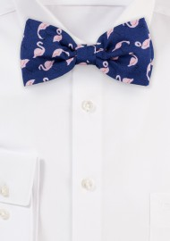 Flamingo Print Bow Tie in Navy and Pink