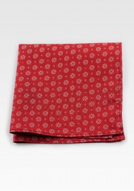 Cherry Red Geometric Print Pocket Square in Cotton