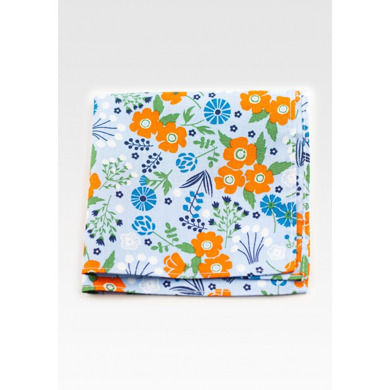 Floral Pocket Square in Light Blue and Orange