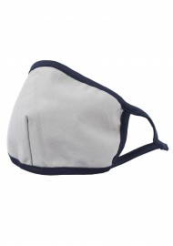 silver gray filter face mask with navy border