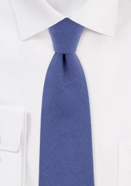Textured Cotton Skinny Tie in Indigo Blue