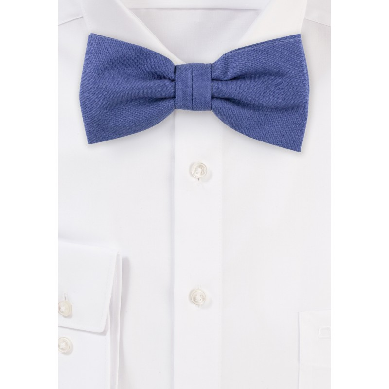 Indigo Blue Matte Cotton Bow Tie