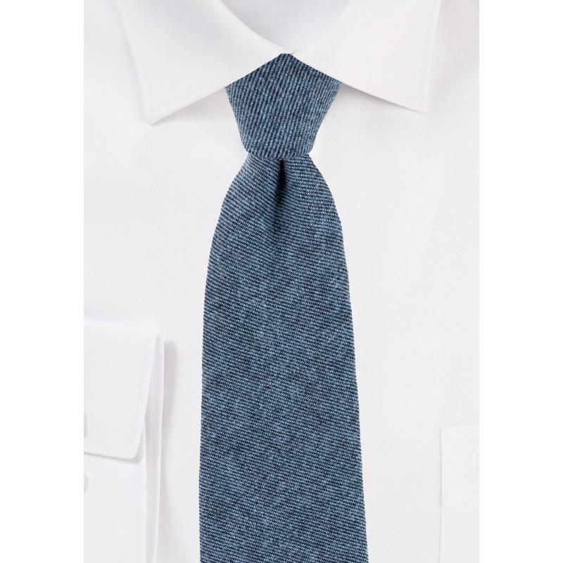 Textured Cotton Skinny Tie in Denim Blue