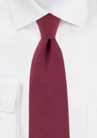 Solid Wine Red Slim Cut Mens Tie in Cotton