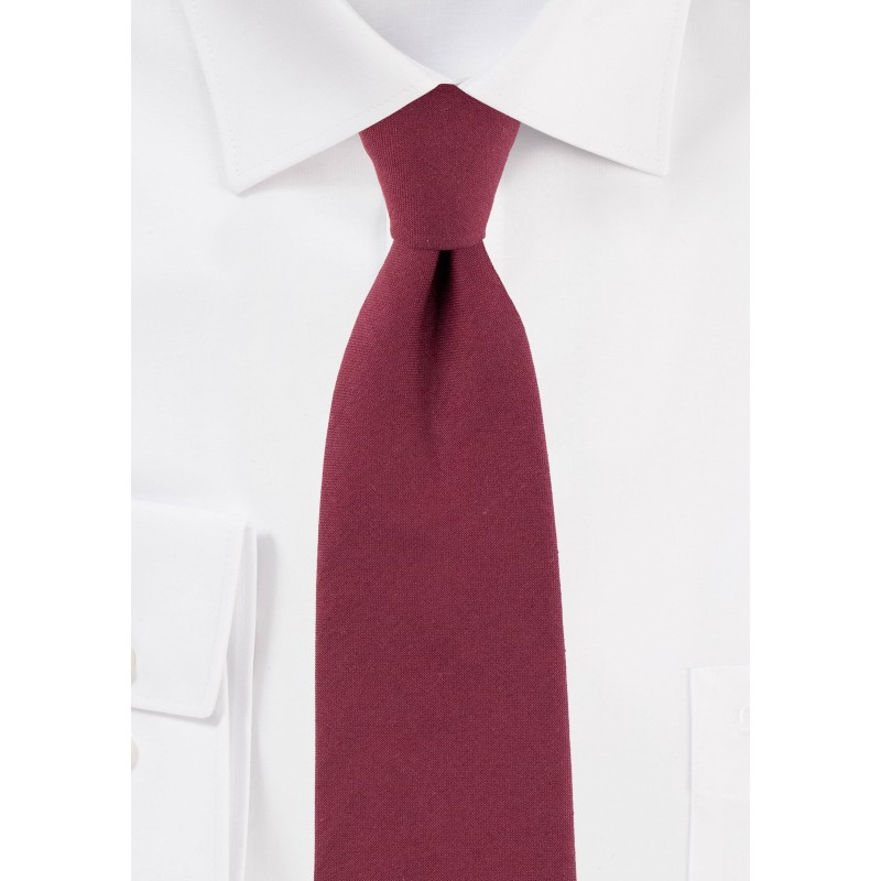 Solid Wine Red Slim Cut Mens Tie in Cotton