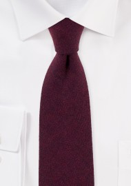 Solid Burgundy Cotton Tie with Herringbone Weave