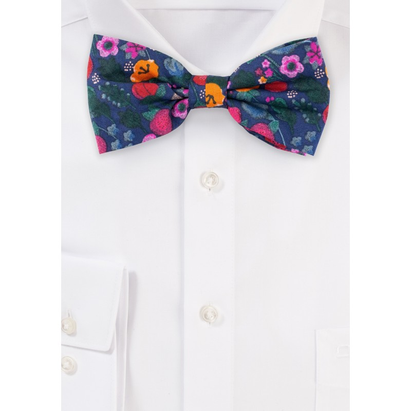 Navy Bow Tie with Colorful Florals